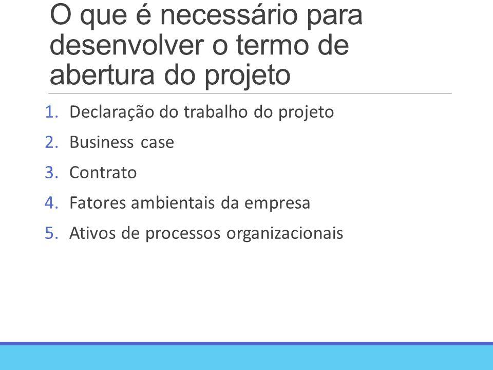 O que é necessário para desenvolver o termo de abertura do projeto 1.Declaração do trabalho do projeto 2.Business case 3.Contrato 4.Fatores ambientais da empresa 5.Ativos de processos organizacionais