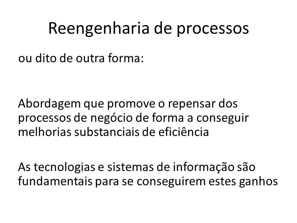 Reengenharia de processos Abordagem que promove o repensar dos processos de negócio de forma a conseguir melhorias substanciais de eficiência As tecno