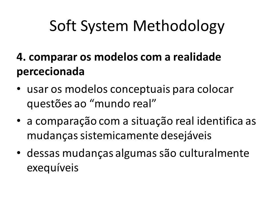 Soft System Methodology 4. comparar os modelos com a realidade percecionada usar os modelos conceptuais para colocar questões ao mundo real a comparaç