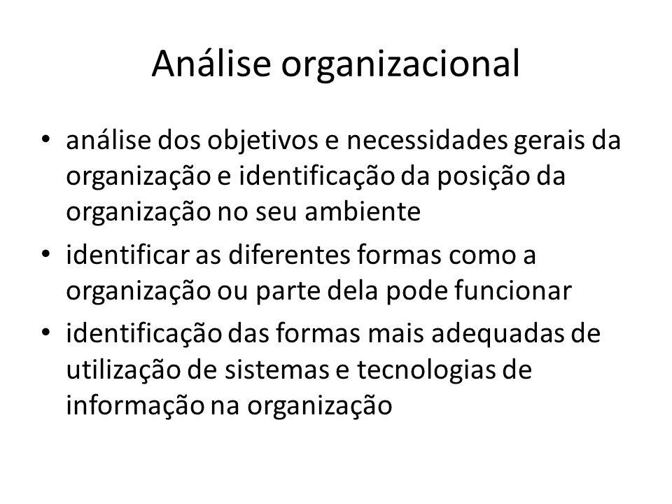 análise dos objetivos e necessidades gerais da organização e identificação da posição da organização no seu ambiente identificar as diferentes formas