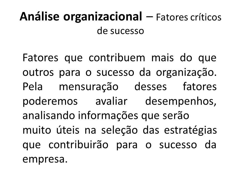 Fatores que contribuem mais do que outros para o sucesso da organização. Pela mensuração desses fatores poderemos avaliar desempenhos, analisando info