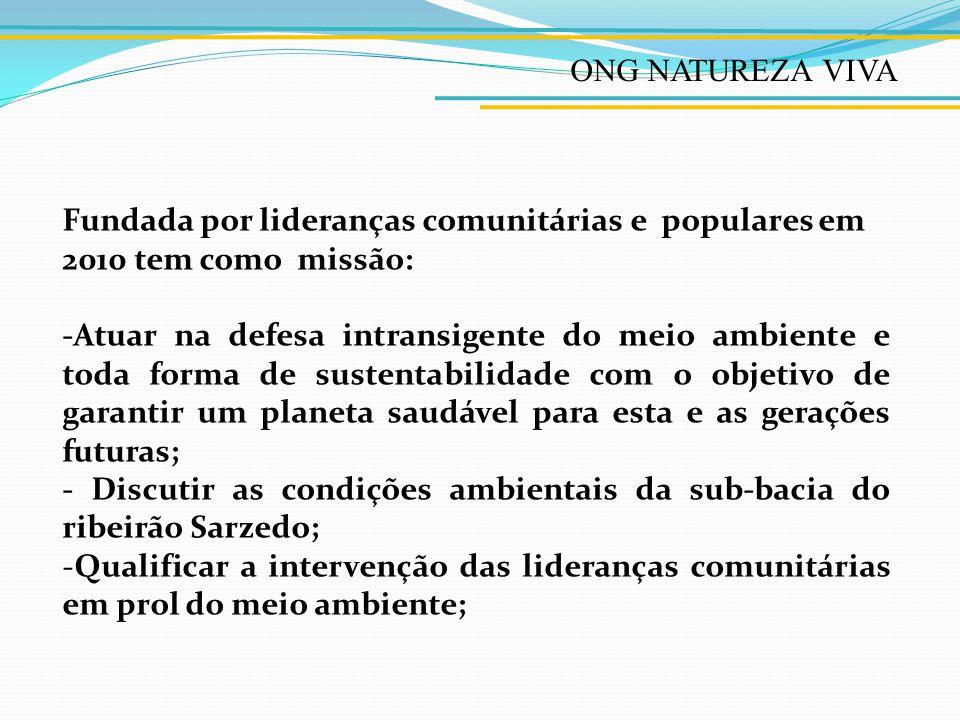 ONG NATUREZA VIVA -Criar mecanismos capazes de estimular o cidadão a mudar os seus hábitos individualistas e consumistas, por uma visão holística e de parceria.