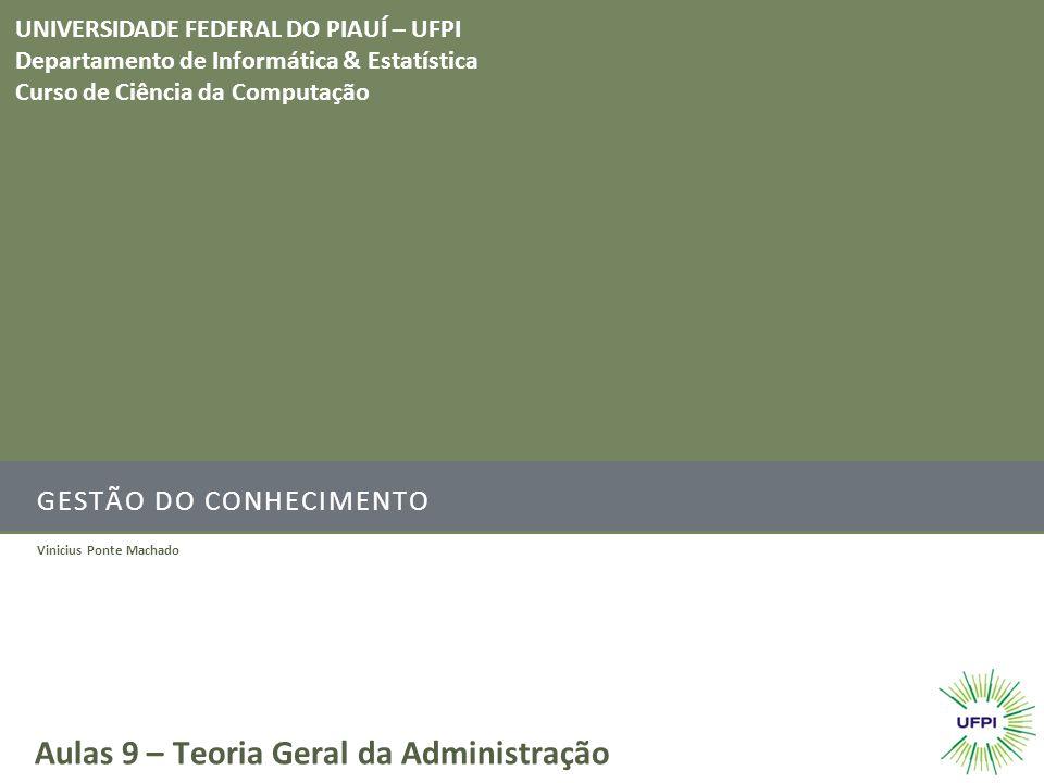 GESTÃO DO CONHECIMENTO Vinicius Ponte Machado Aulas 9 – Teoria Geral da Administração UNIVERSIDADE FEDERAL DO PIAUÍ – UFPI Departamento de Informática & Estatística Curso de Ciência da Computação