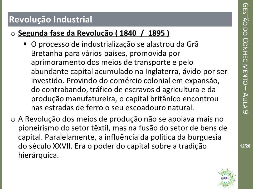 Clique para editar o estilo do título mestre G ESTÃO DO C ONHECIMENTO – A ULA 9 12/20 Revolução Industrial o Segunda fase da Revolução ( 1840 / 1895 )