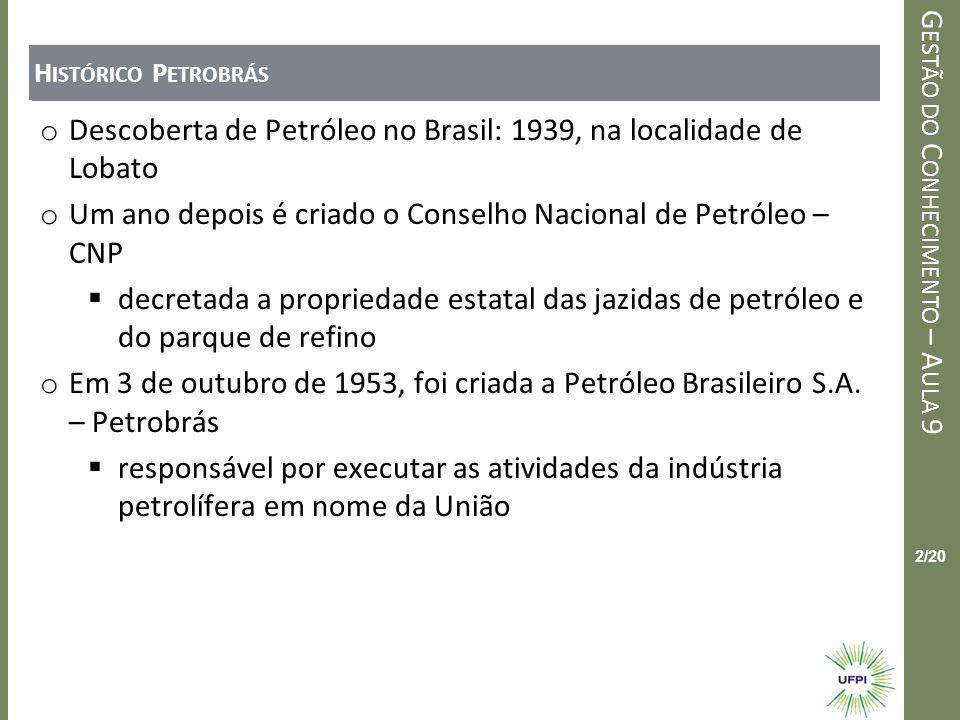 Clique para editar o estilo do título mestre G ESTÃO DO C ONHECIMENTO – A ULA 9 2/20 H ISTÓRICO P ETROBRÁS o Descoberta de Petróleo no Brasil: 1939, n