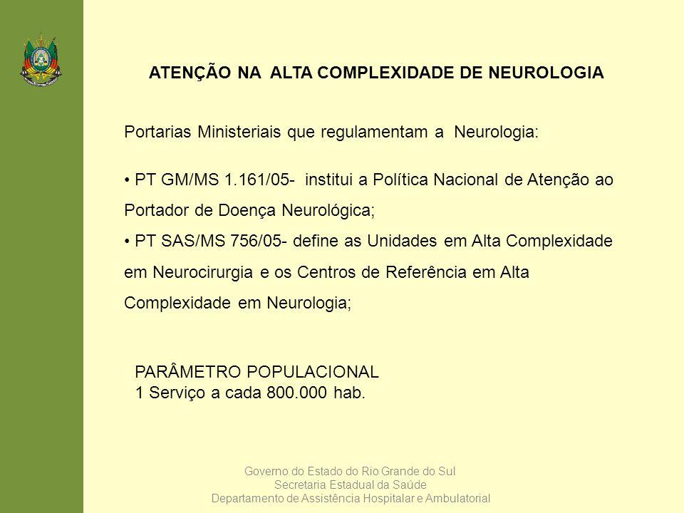 ATENÇÃO NA ALTA COMPLEXIDADE DE NEUROLOGIA Portarias Ministeriais que regulamentam a Neurologia: PT GM/MS 1.161/05- institui a Política Nacional de At