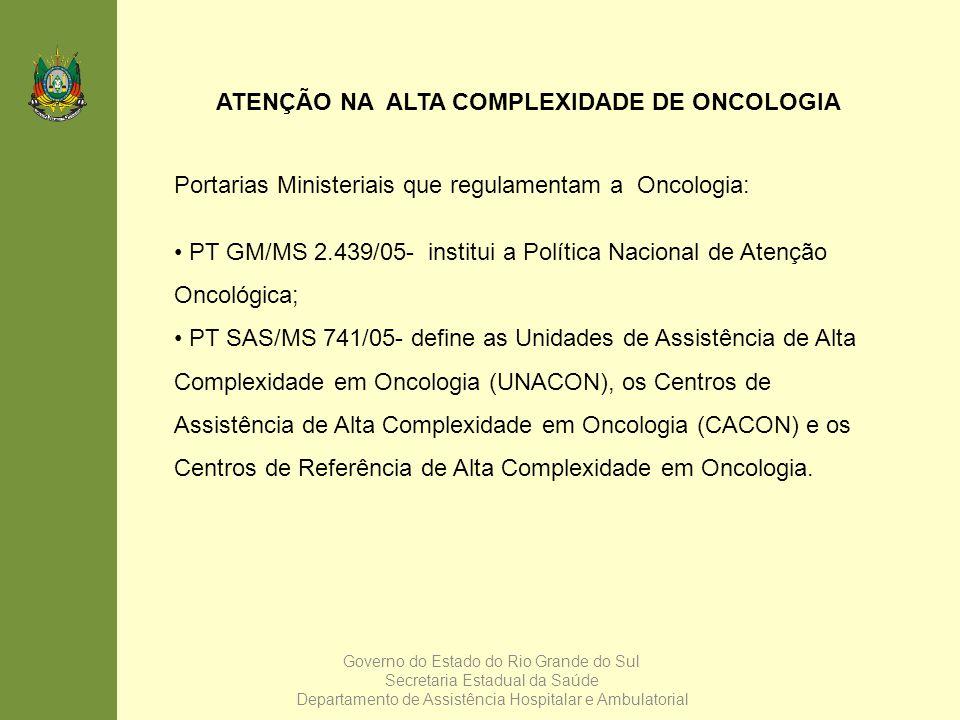 ATENÇÃO NA ALTA COMPLEXIDADE DE ONCOLOGIA Portarias Ministeriais que regulamentam a Oncologia: PT GM/MS 2.439/05- institui a Política Nacional de Aten