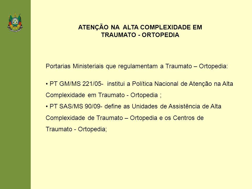 Portarias Ministeriais que regulamentam a Traumato – Ortopedia: PT GM/MS 221/05- institui a Política Nacional de Atenção na Alta Complexidade em Traum