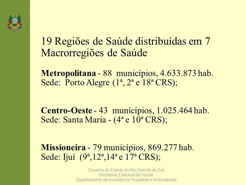 Governo do Estado do Rio Grande do Sul Secretaria Estadual da Saúde Departamento de Assistência Hospitalar e Ambulatorial 19 Regiões de Saúde distribu
