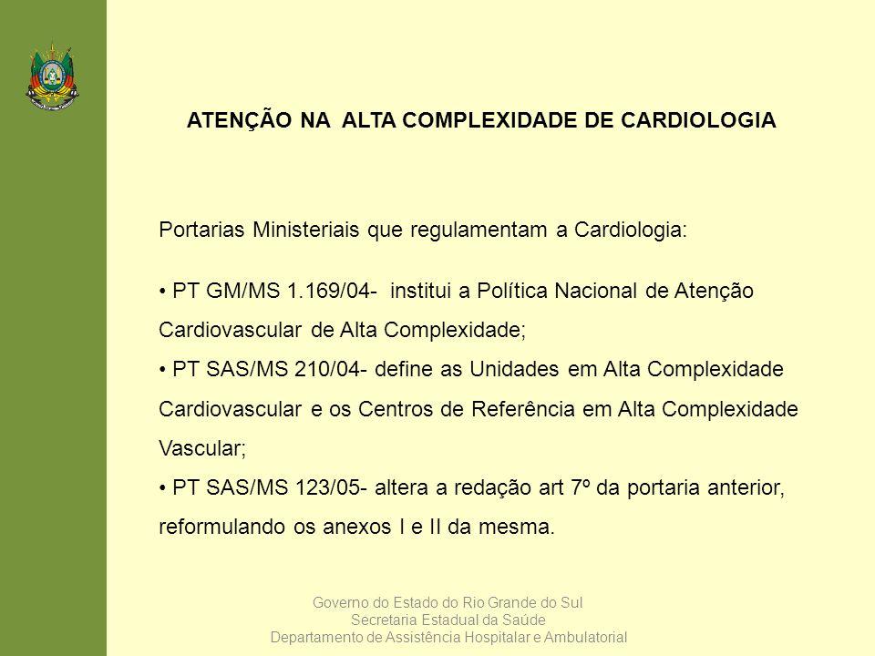 ATENÇÃO NA ALTA COMPLEXIDADE DE CARDIOLOGIA Portarias Ministeriais que regulamentam a Cardiologia: PT GM/MS 1.169/04- institui a Política Nacional de