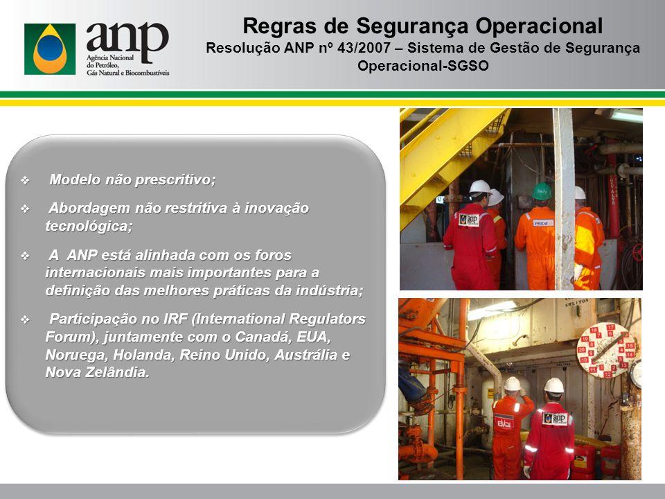 Regras de Segurança Operacional Resolução ANP nº 43/2007 – Sistema de Gestão de Segurança Operacional-SGSO Modelo não prescritivo; Modelo não prescrit