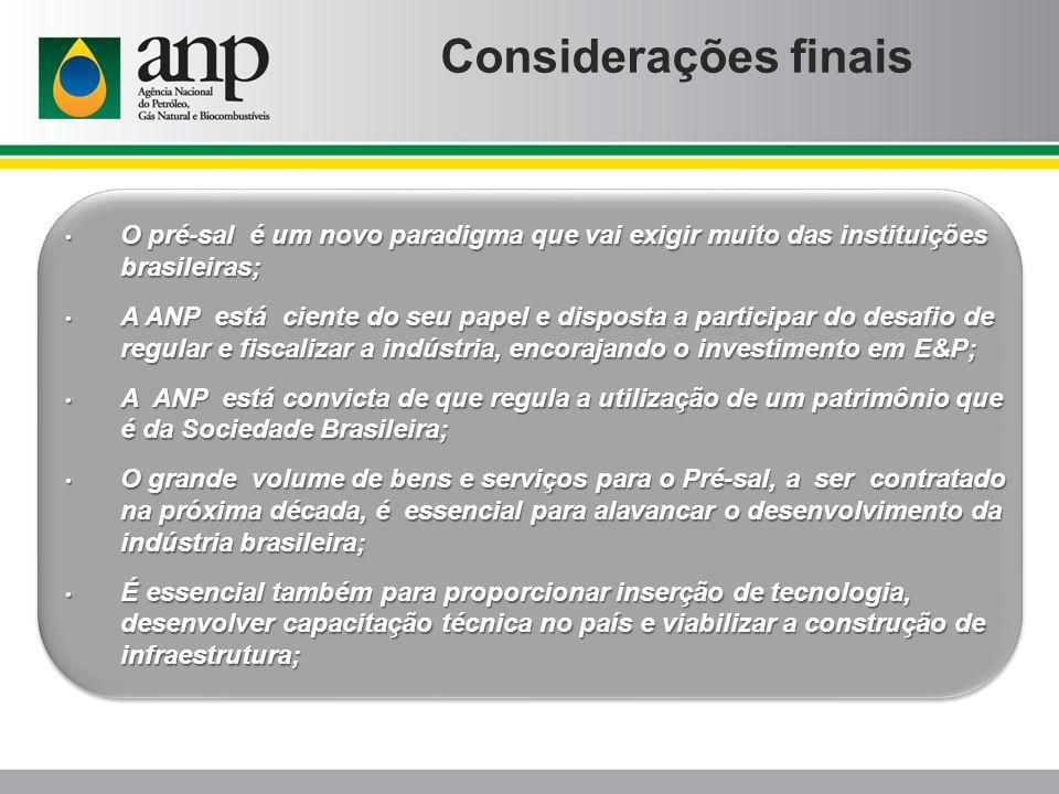 Considerações finais O pré-sal é um novo paradigma que vai exigir muito das instituições brasileiras; O pré-sal é um novo paradigma que vai exigir mui