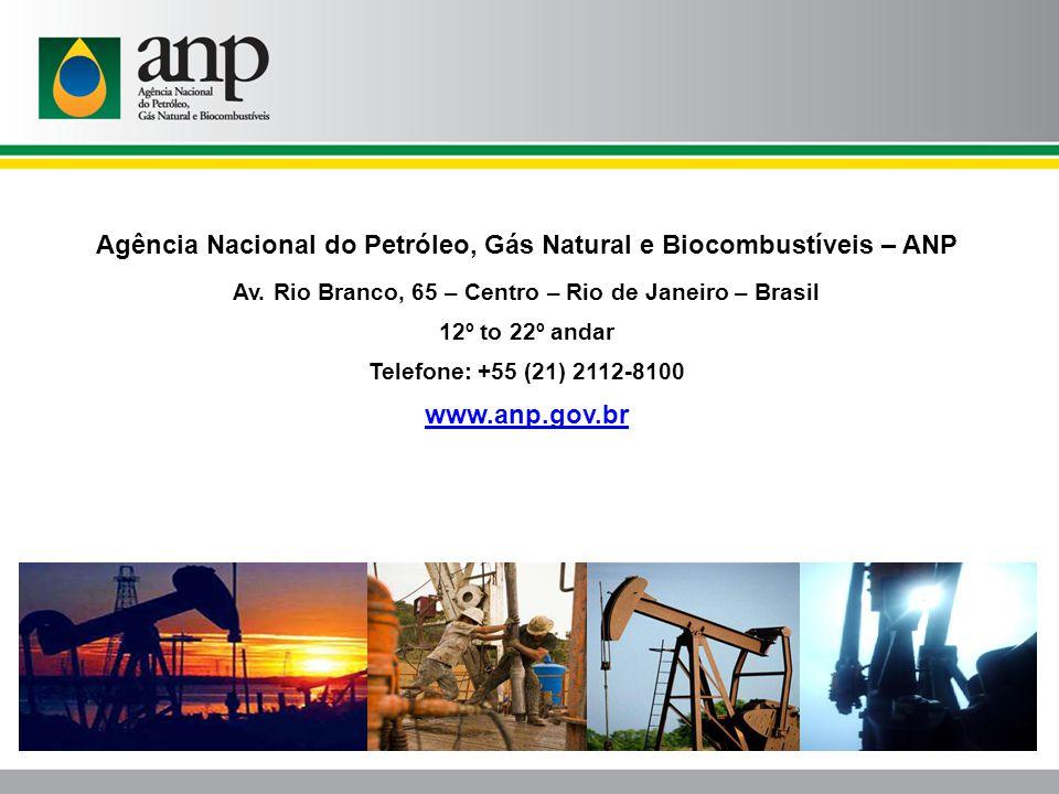 Agência Nacional do Petróleo, Gás Natural e Biocombustíveis – ANP Av. Rio Branco, 65 – Centro – Rio de Janeiro – Brasil 12º to 22º andar Telefone: +55