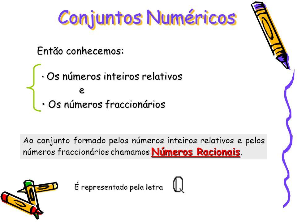 Ao conjunto formado pelos números inteiros relativos e pelos números fraccionários chamamos N NN Números Racionais. Conjuntos Numéricos Então conhecem