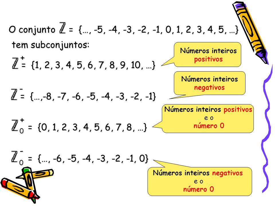 = {…, -5, -4, -3, -2, -1, 0, 1, 2, 3, 4, 5, …} O conjunto tem subconjuntos: = {…,-8, -7, -6, -5, -4, -3, -2, -1} = {1, 2, 3, 4, 5, 6, 7, 8, 9, 10, …}+