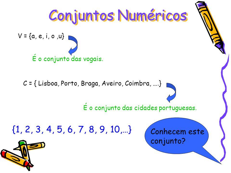 V = {a, e, i, o,u} É o conjunto das vogais. C = { Lisboa, Porto, Braga, Aveiro, Coimbra, ….} É o conjunto das cidades portuguesas. {1, 2, 3, 4, 5, 6,