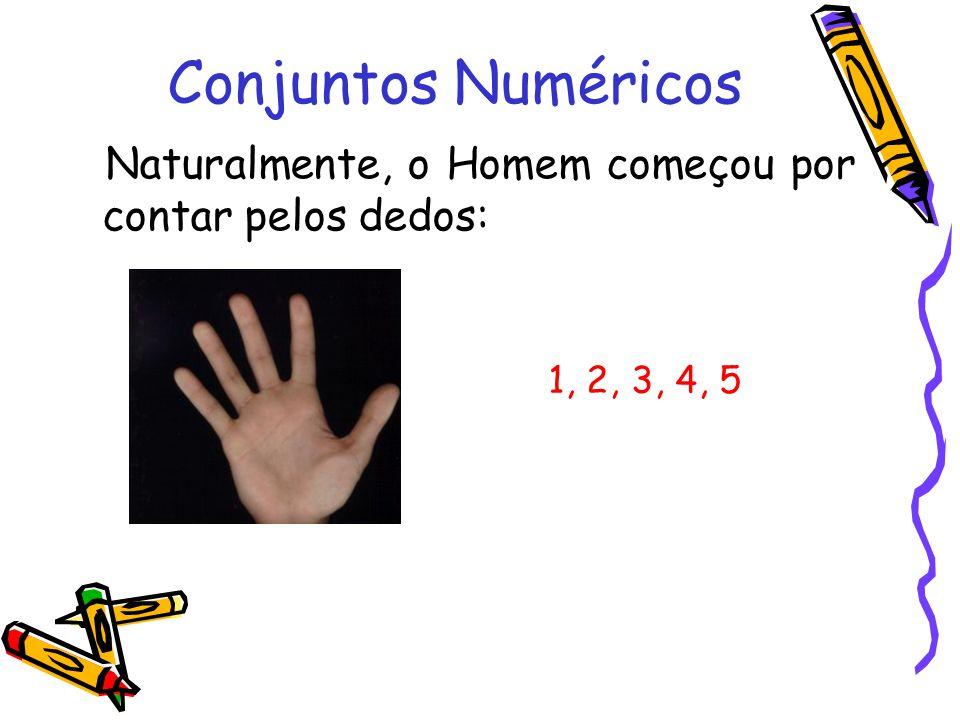 Naturalmente, o Homem começou por contar pelos dedos: Conjuntos Numéricos 1, 2, 3, 4, 5