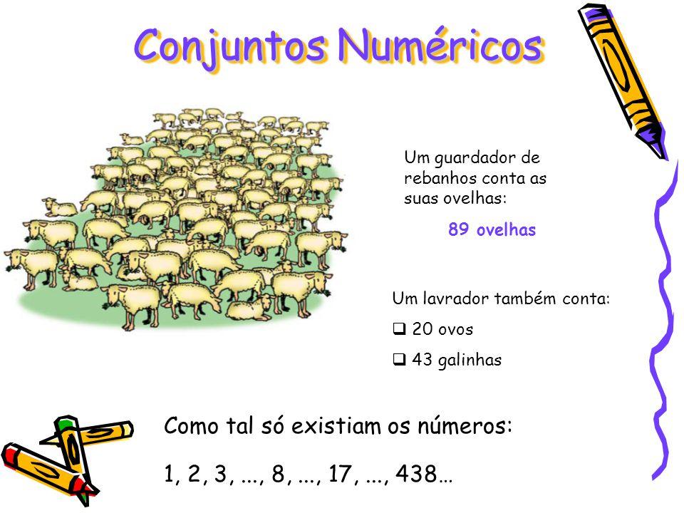 Um guardador de rebanhos conta as suas ovelhas: 89 ovelhas Um lavrador também conta: 20 ovos 43 galinhas Conjuntos Numéricos Como tal só existiam os n