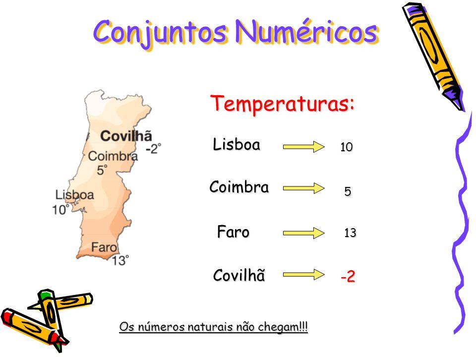 Conjuntos Numéricos Lisboa Coimbra Faro Covilhã Temperaturas: 10 5 13 -2 Os números naturais não chegam!!!