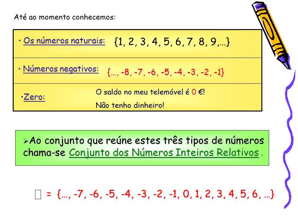 Até ao momento conhecemos: Os números naturais: Os números naturais: {1, 2, 3, 4, 5, 6, 7, 8, 9,…} Números negativos: Números negativos: {…, -8, -7, -