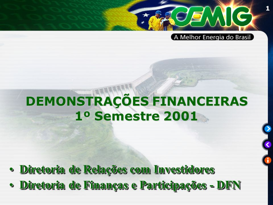 1 DEMONSTRAÇÕES FINANCEIRAS 1º Semestre 2001 Diretoria de Relações com InvestidoresDiretoria de Relações com Investidores Diretoria de Finanças e Participações - DFNDiretoria de Finanças e Participações - DFN Diretoria de Relações com InvestidoresDiretoria de Relações com Investidores Diretoria de Finanças e Participações - DFNDiretoria de Finanças e Participações - DFN