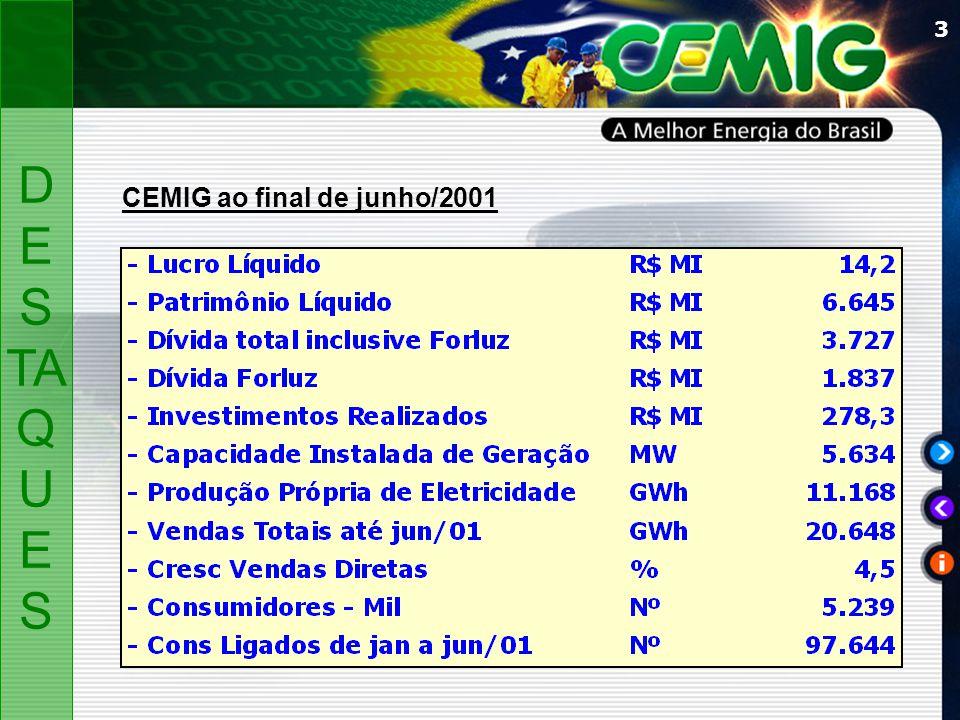 3 D ES TA Q U ES CEMIG ao final de junho/2001