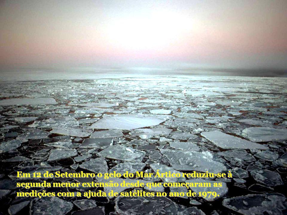 Em 12 de Setembro o gelo do Mar Ártico reduziu-se à segunda menor extensão desde que começaram as medições com a ajuda de satélites no ano de 1979.