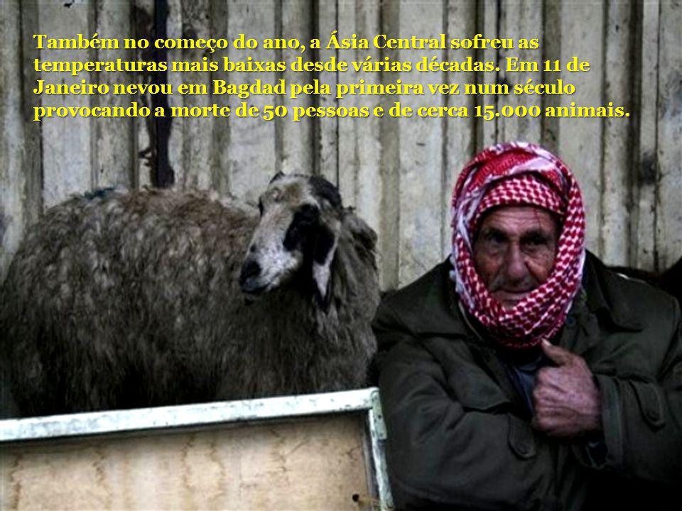 Também no começo do ano, a Ásia Central sofreu as temperaturas mais baixas desde várias décadas. Em 11 de Janeiro nevou em Bagdad pela primeira vez nu