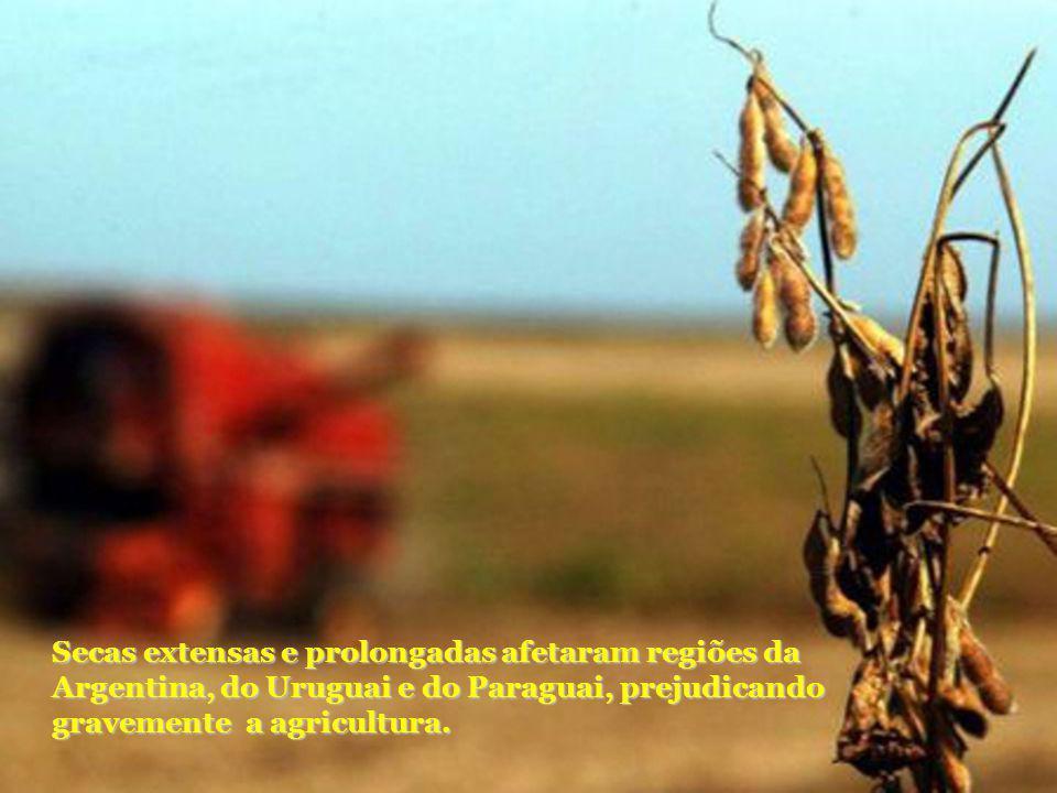 Secas extensas e prolongadas afetaram regiões da Argentina, do Uruguai e do Paraguai, prejudicando gravemente a agricultura.