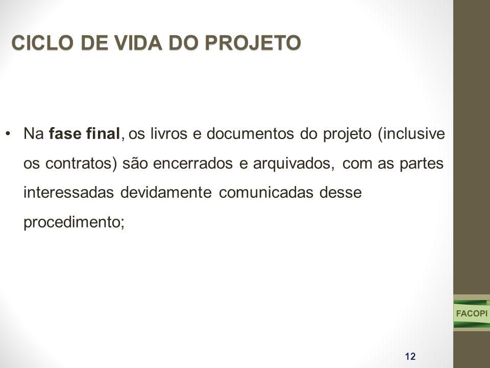 Na fase final, os livros e documentos do projeto (inclusive os contratos) são encerrados e arquivados, com as partes interessadas devidamente comunica