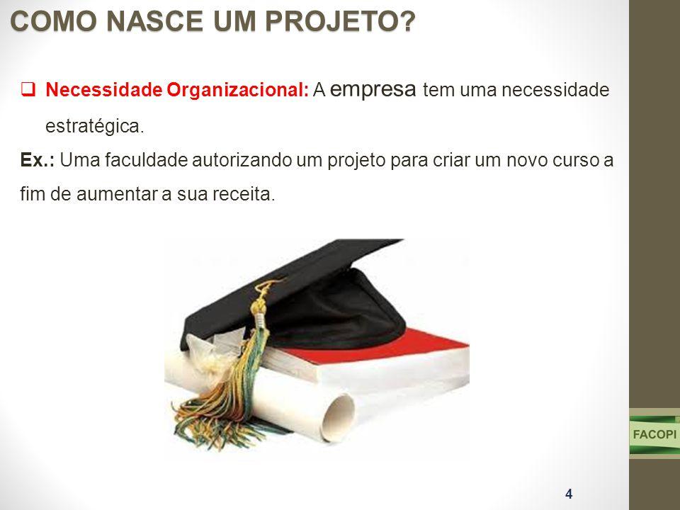 COMO NASCE UM PROJETO? 4 Necessidade Organizacional: A empresa tem uma necessidade estratégica. Ex.: Uma faculdade autorizando um projeto para criar u