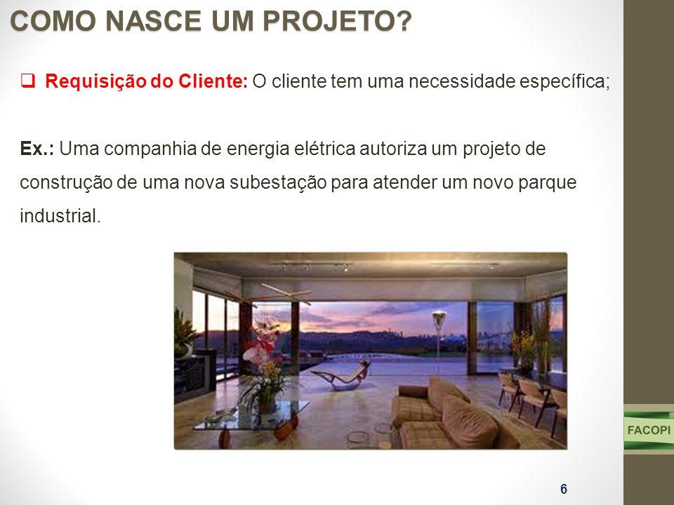 COMO NASCE UM PROJETO? 6 Requisição do Cliente: O cliente tem uma necessidade específica; Ex.: Uma companhia de energia elétrica autoriza um projeto d