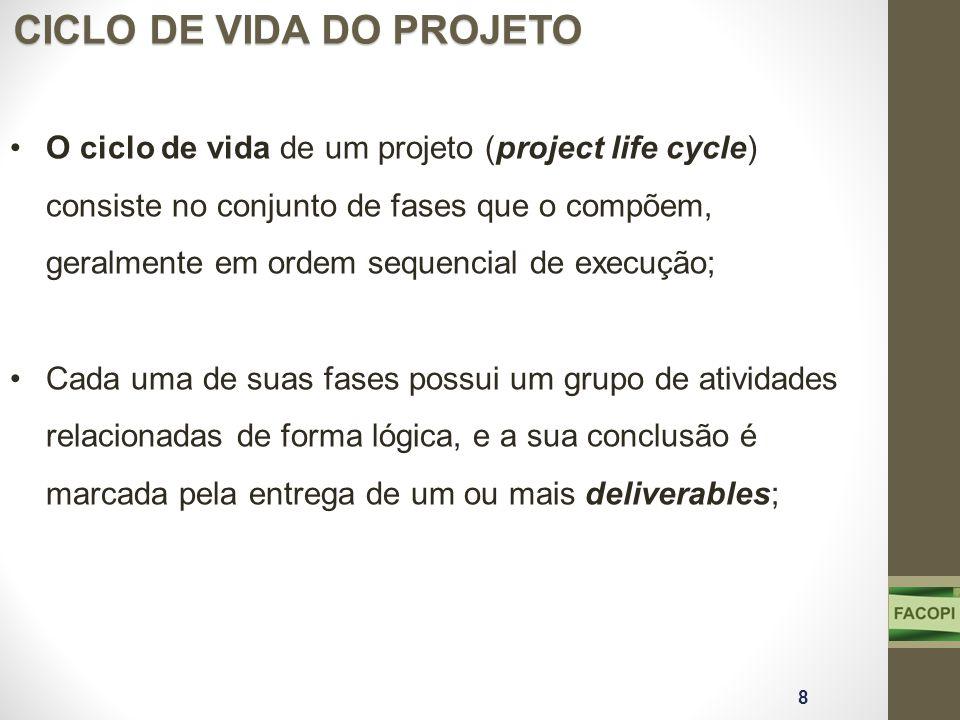 O ciclo de vida de um projeto (project life cycle) consiste no conjunto de fases que o compõem, geralmente em ordem sequencial de execução; Cada uma d