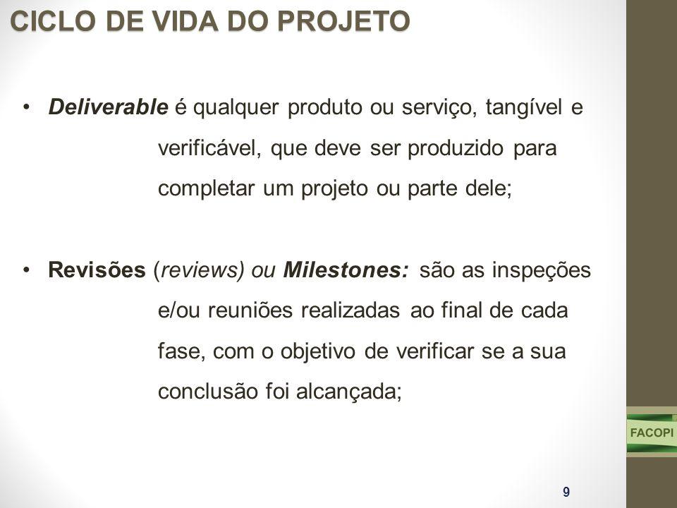Deliverable é qualquer produto ou serviço, tangível e verificável, que deve ser produzido para completar um projeto ou parte dele; Revisões (reviews)
