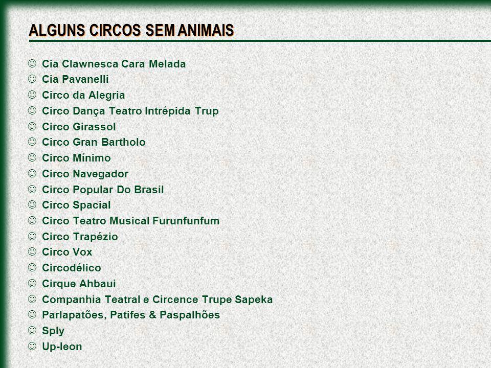 Cia Clawnesca Cara Melada Cia Pavanelli Circo da Alegria Circo Dança Teatro Intrépida Trup Circo Girassol Circo Gran Bartholo Circo Mínimo Circo Naveg