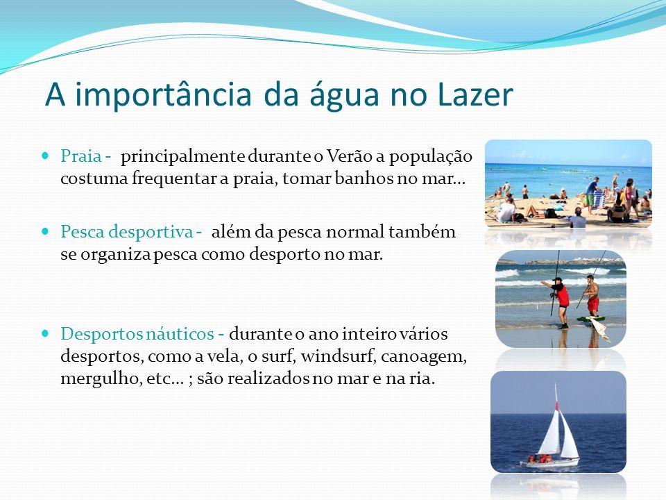 A importância da água no Lazer Praia - principalmente durante o Verão a população costuma frequentar a praia, tomar banhos no mar… Pesca desportiva -