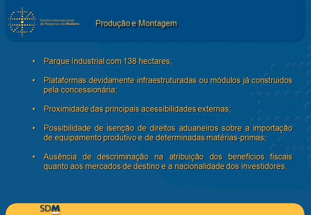 Produção e Montagem Parque Industrial com 138 hectares; Plataformas devidamente infraestruturadas ou módulos já construidos pela concessionária; Proxi