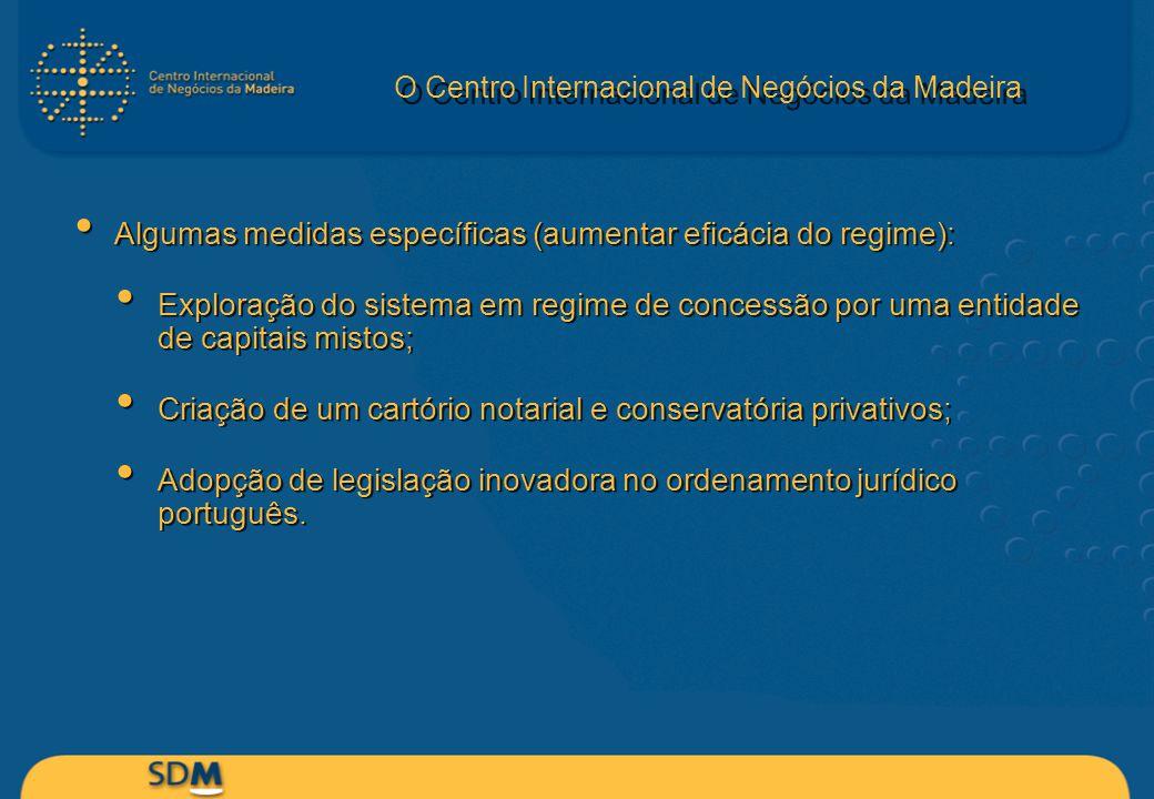 O Centro Internacional de Negócios da Madeira Algumas medidas específicas (aumentar eficácia do regime): Exploração do sistema em regime de concessão