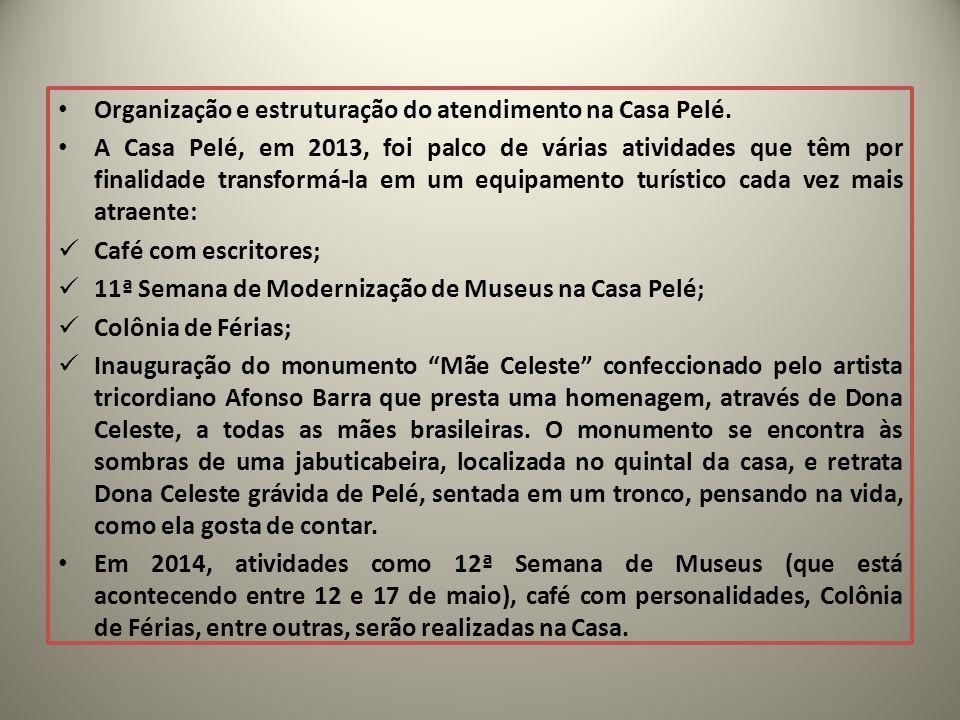 Organização e estruturação do atendimento na Casa Pelé. A Casa Pelé, em 2013, foi palco de várias atividades que têm por finalidade transformá-la em u