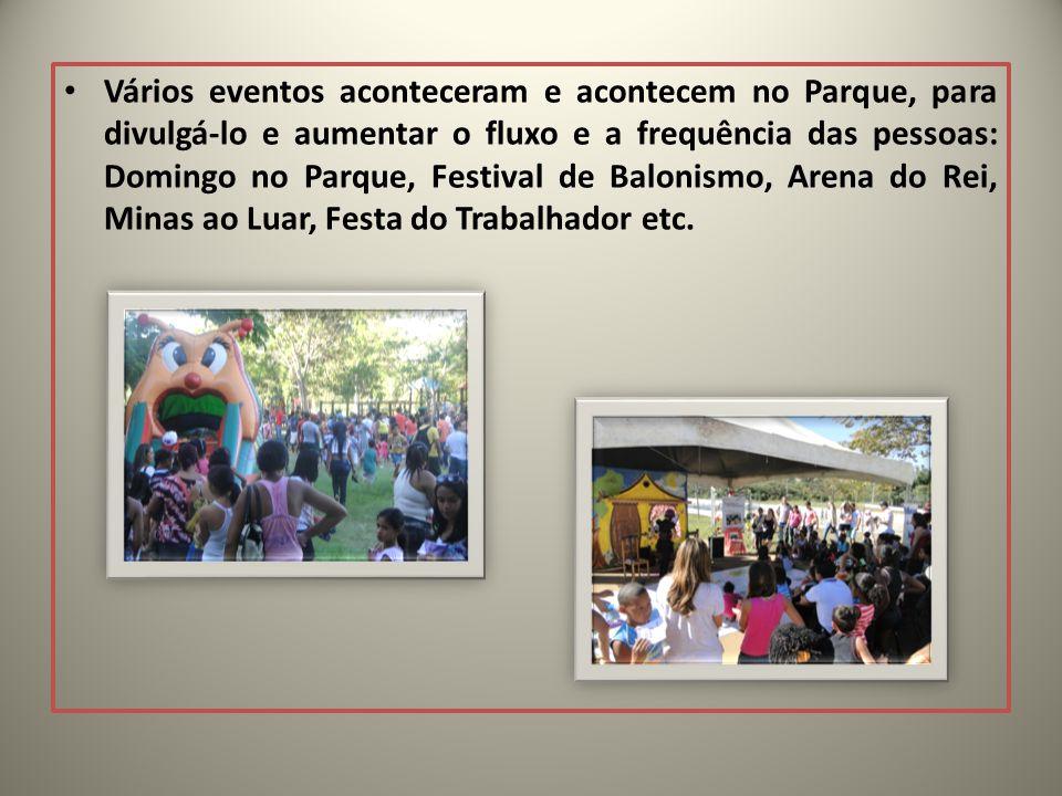 Vários eventos aconteceram e acontecem no Parque, para divulgá-lo e aumentar o fluxo e a frequência das pessoas: Domingo no Parque, Festival de Balonismo, Arena do Rei, Minas ao Luar, Festa do Trabalhador etc.
