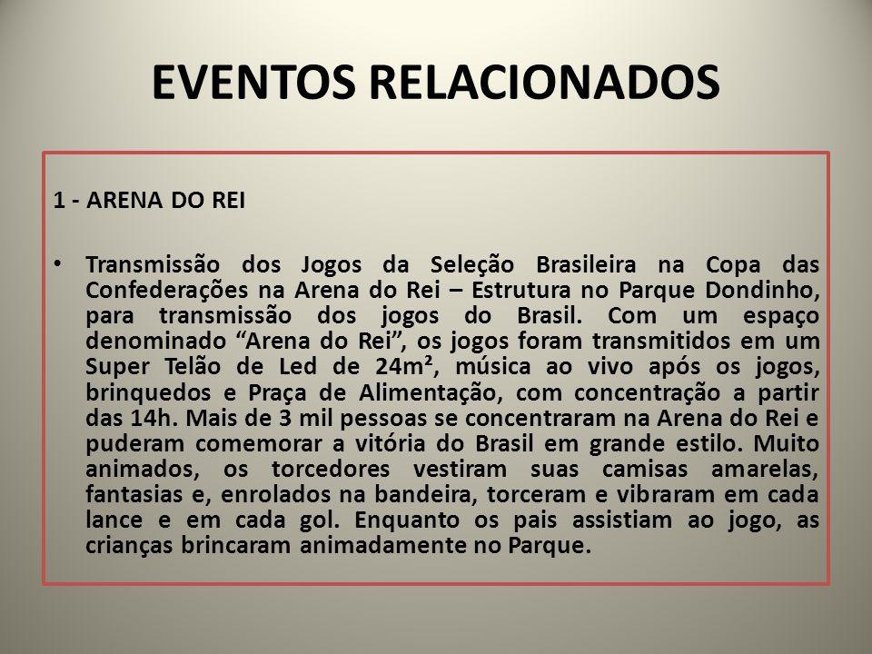 EVENTOS RELACIONADOS 1 - ARENA DO REI Transmissão dos Jogos da Seleção Brasileira na Copa das Confederações na Arena do Rei – Estrutura no Parque Dondinho, para transmissão dos jogos do Brasil.