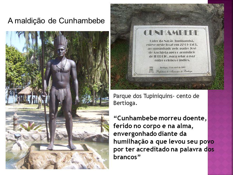 Parque dos Tupiniquins- cento de Bertioga. Cunhambebe morreu doente, ferido no corpo e na alma, envergonhado diante da humilhação a que levou seu povo