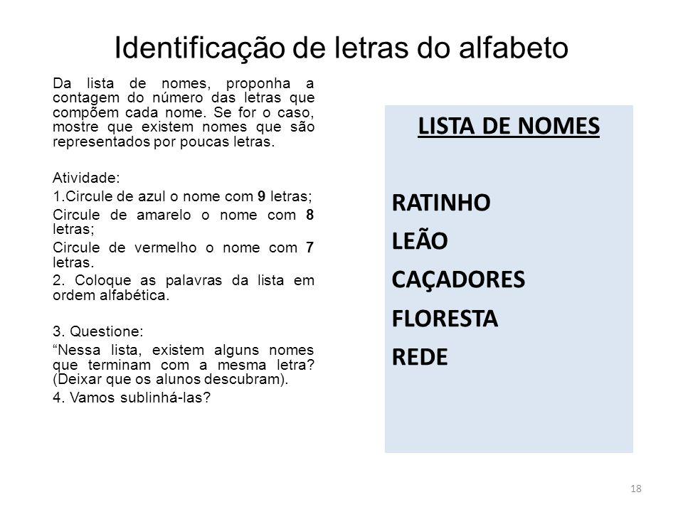 Identificação de letras do alfabeto LISTA DE NOMES RATINHO LEÃO CAÇADORES FLORESTA REDE Da lista de nomes, proponha a contagem do número das letras que compõem cada nome.