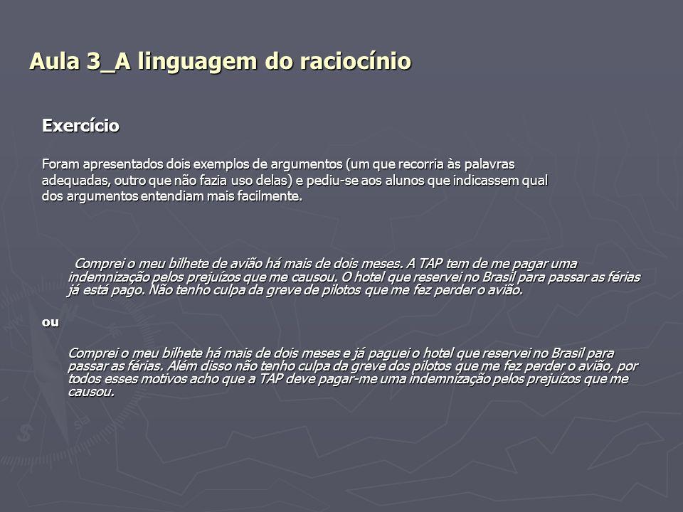 Aula 3_A linguagem do raciocínio Exercício Foram apresentados dois exemplos de argumentos (um que recorria às palavras adequadas, outro que não fazia
