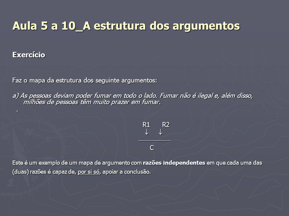 Aula 5 a 10_A estrutura dos argumentos Exercício Faz o mapa da estrutura dos seguinte argumentos: a) As pessoas deviam poder fumar em todo o lado. Fum
