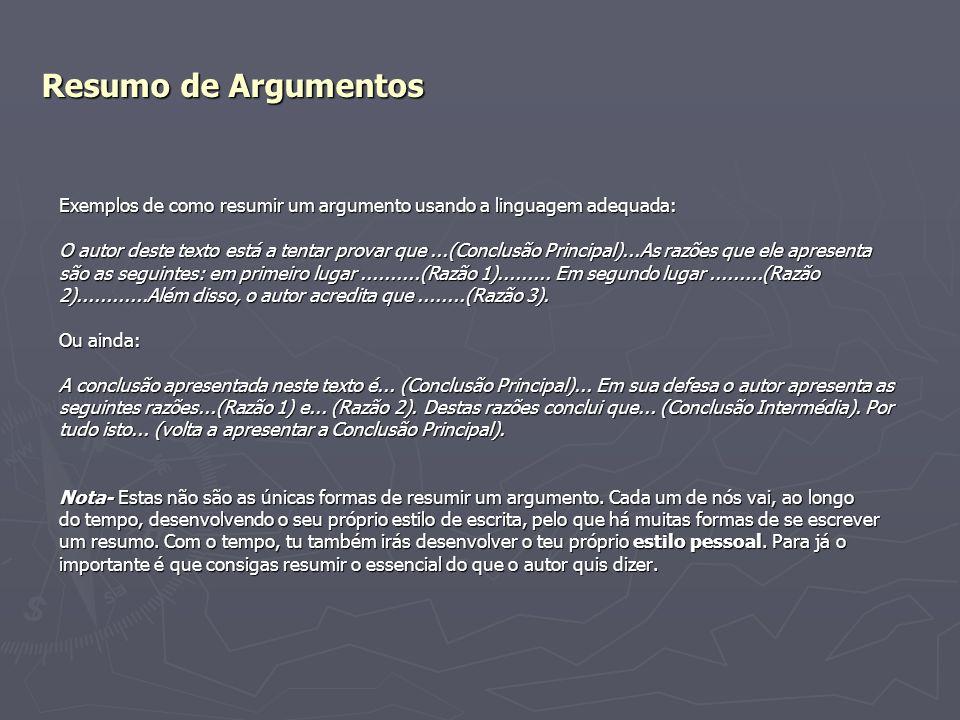 Resumo de Argumentos Exemplos de como resumir um argumento usando a linguagem adequada: O autor deste texto está a tentar provar que...(Conclusão Prin