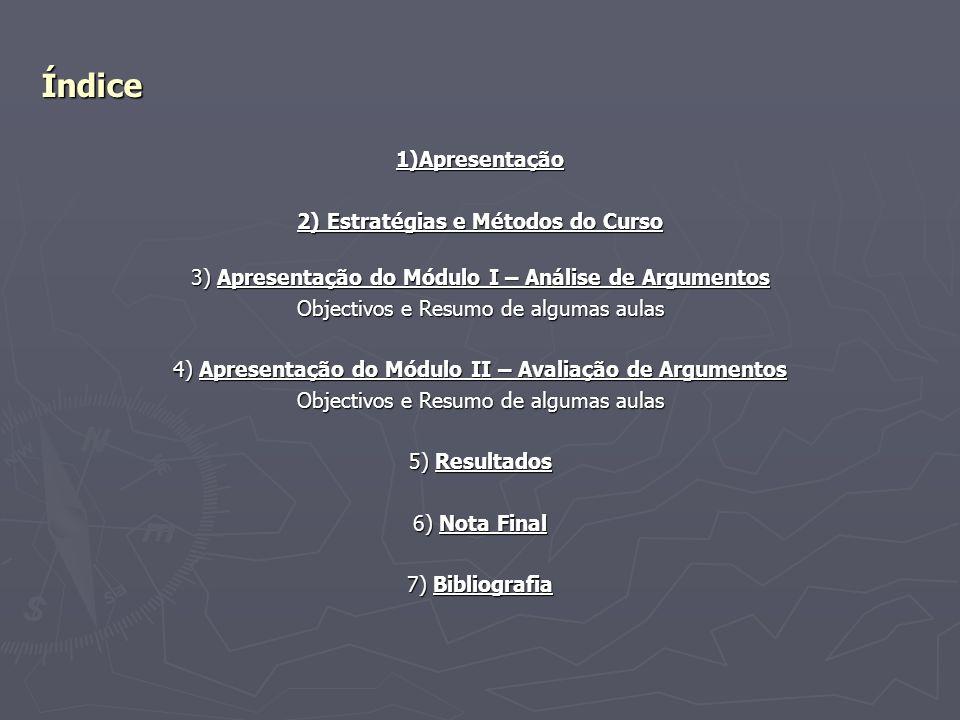 Índice 1)Apresentação 2) Estratégias e Métodos do Curso 2) Estratégias e Métodos do Curso 3) Apresentação do Módulo I – Análise de Argumentos Objectiv