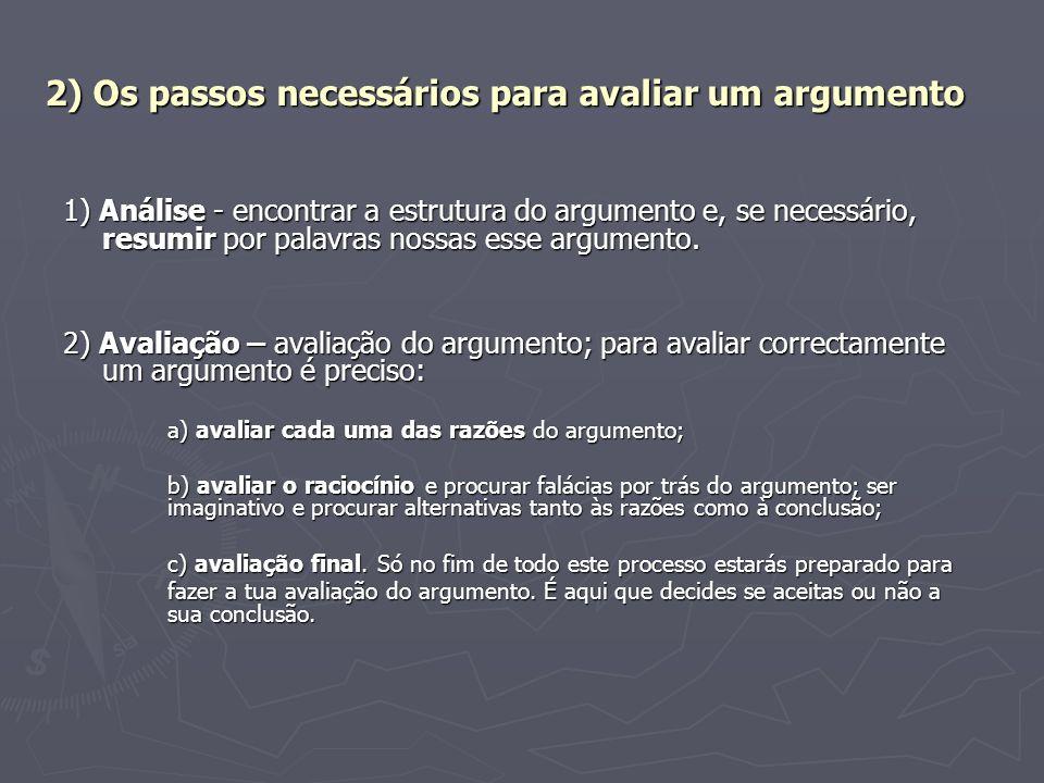 2) Os passos necessários para avaliar um argumento 1) Análise - encontrar a estrutura do argumento e, se necessário, resumir por palavras nossas esse