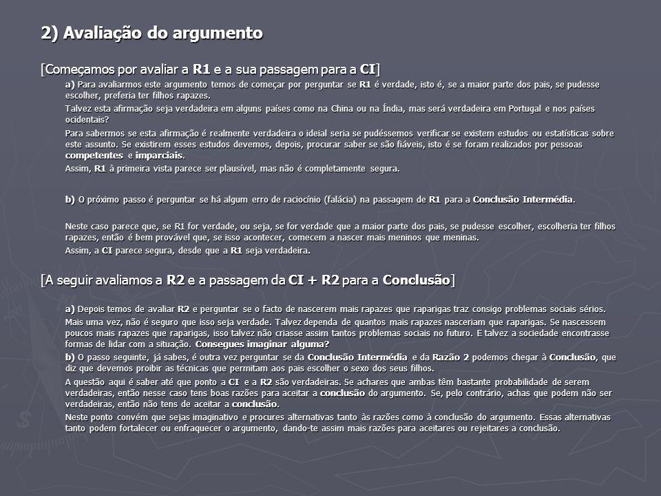 2) Avaliação do argumento [Começamos por avaliar a R1 e a sua passagem para a CI] a) Para avaliarmos este argumento temos de começar por perguntar se
