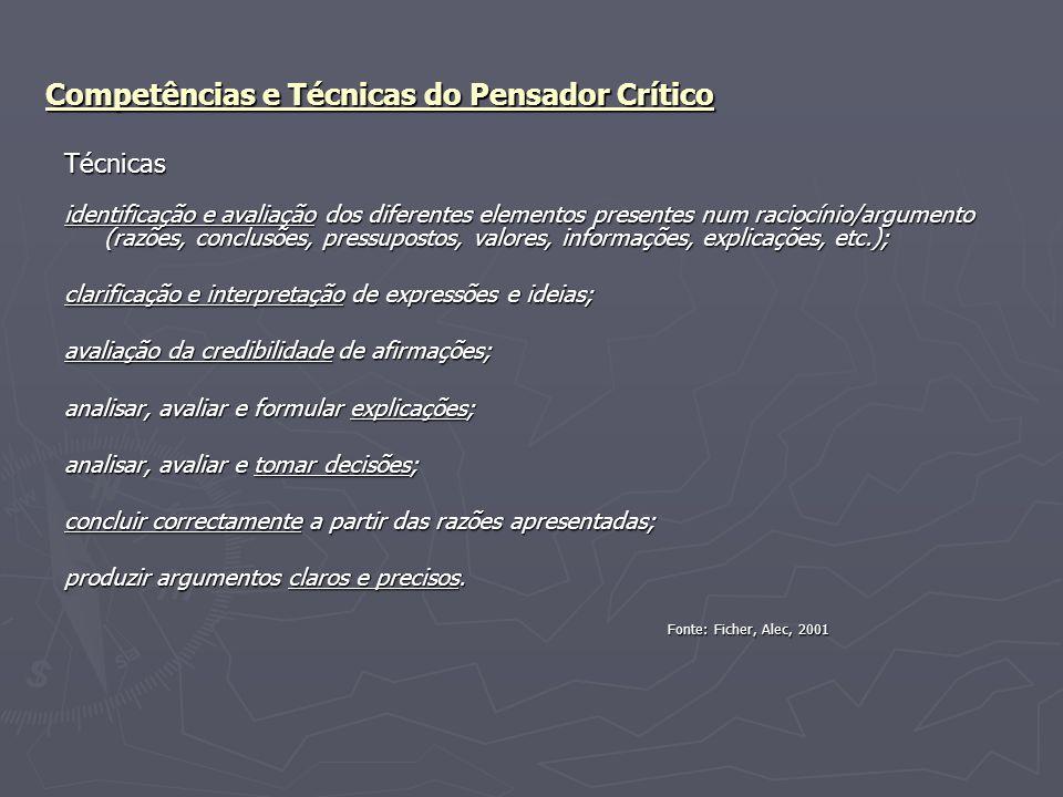 Competências e Técnicas do Pensador Crítico Técnicas identificação e avaliação dos diferentes elementos presentes num raciocínio/argumento (razões, co